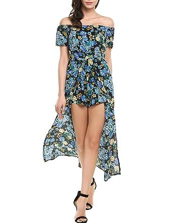 cf52e150efd Zeagoo Women s Off The Shoulder Short Sleeve Hi Lo Romper Party Dress Blue S