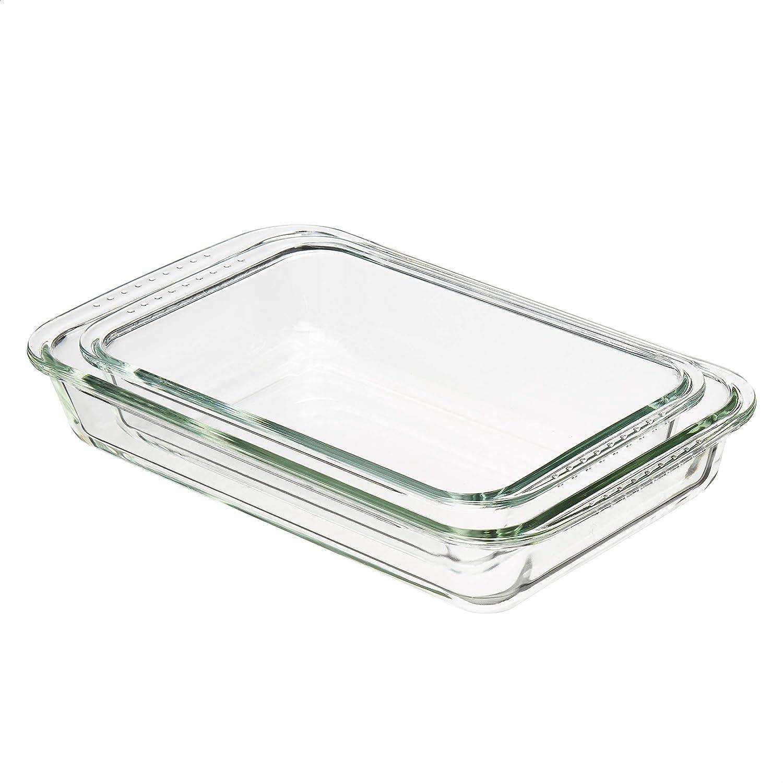 Amazon Basics Glass Oblong Oven Safe Baking Dishes, Set of 2