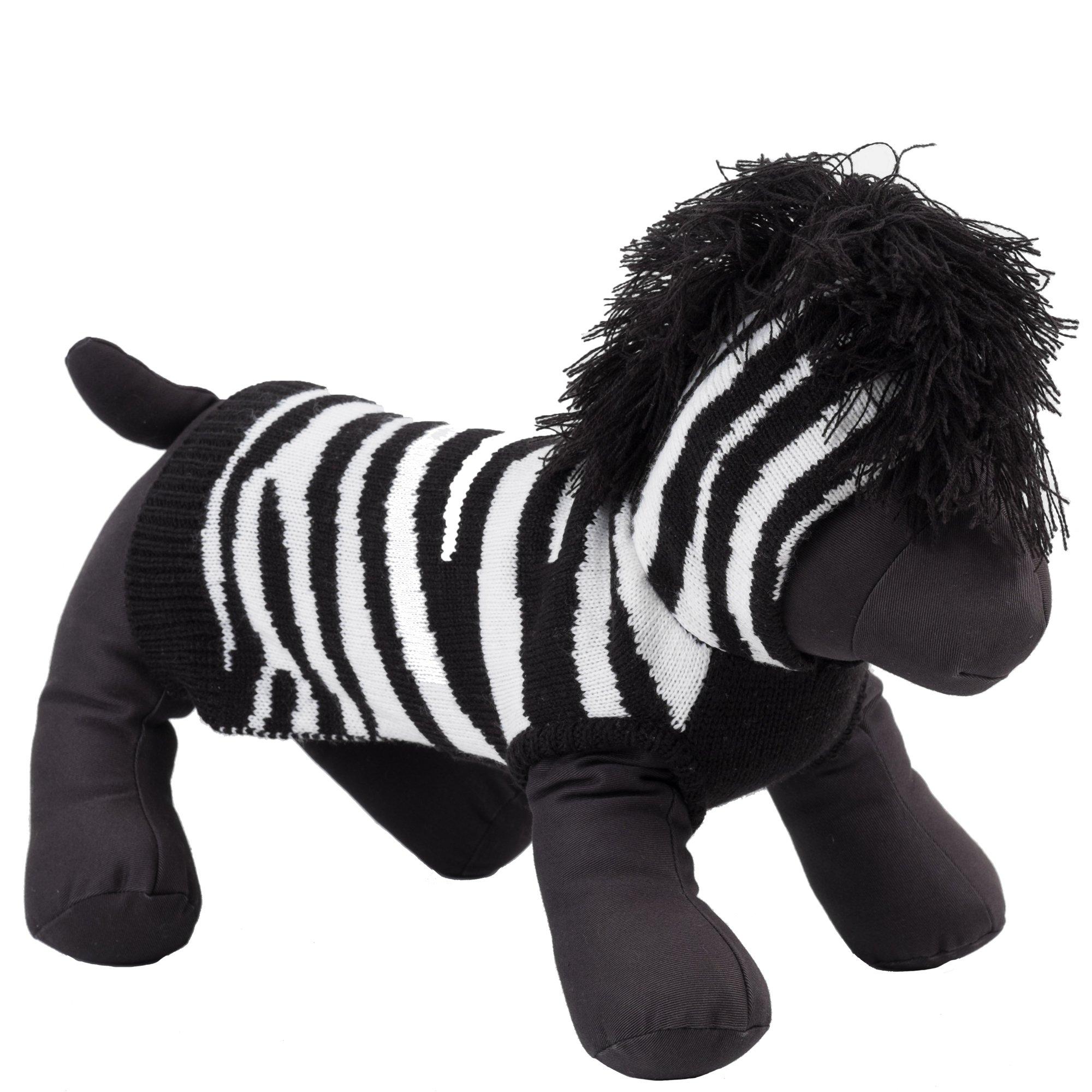 The Worthy Dog 6364 Zebra Hoodie, Black/White, M