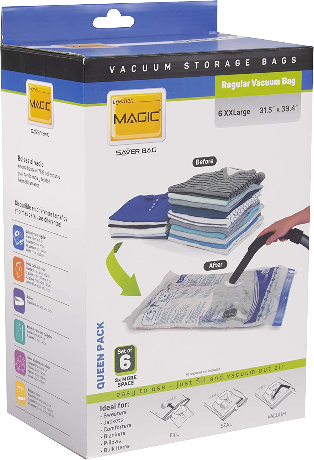 Magic Saver Vacuum Storage Bags 30''x40'' XXLarge Size, Pack of 6, Space Saver Bags for Quilts, Pillows, Clothes