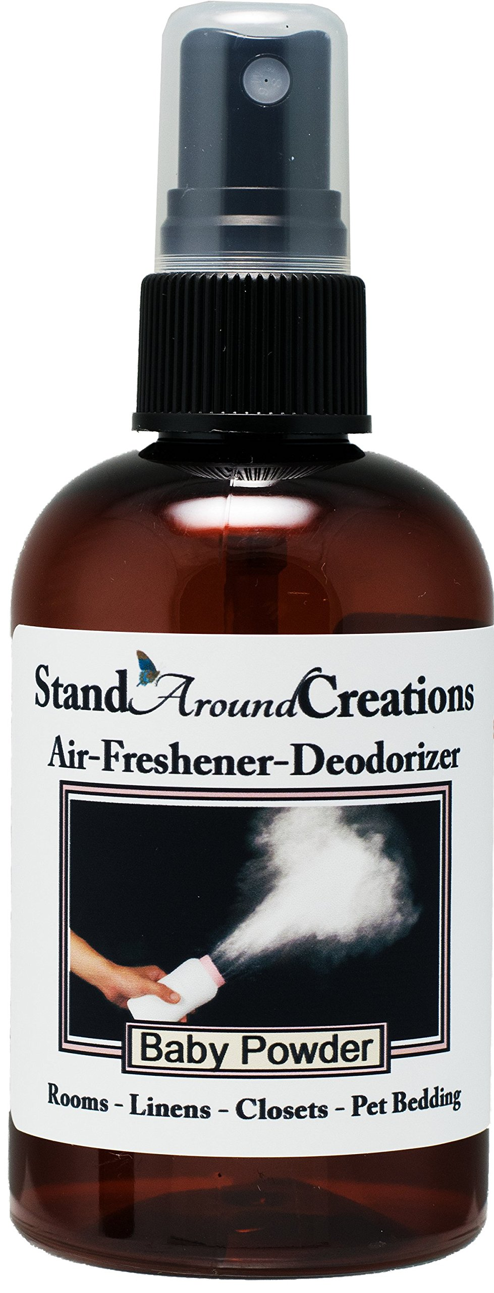 Concentrated Spray For Room / Linen / Room Deodorizer / Air Freshener - 4 fl oz - Scent - Baby Powder: A true-to-name fragrance that contains white cedar, ylang ylang, cypress, and musk. This fragrance is infused with natural essential oils, including Ced