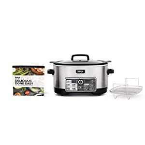 Ninja Auto-iQ Multi/Slow Cooker with 80-Pre-Programmed Auto-iQ Recipes for Searing, Slow Cooking, Baking and Steaming with 6-Quart Nonstick Pot (CS960) (Certified Refurbished)