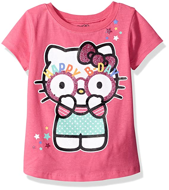 Hello Kitty Little Girls Toddler Happy Birthday T Shirt Carmine Rose