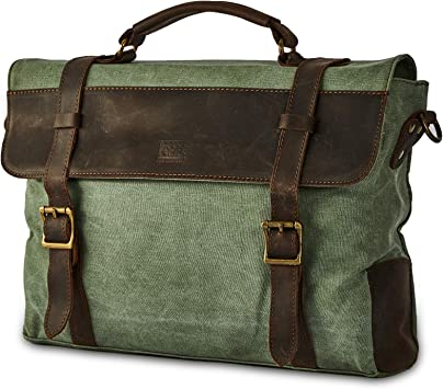 Luxury mens briefcase military canvas