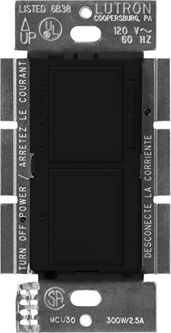Lutron Ma L3s25 Bl Maestro 300 Watt Single Pole Dual Dimmer And Switch Black Wall Dimmer Switches Amazon Com