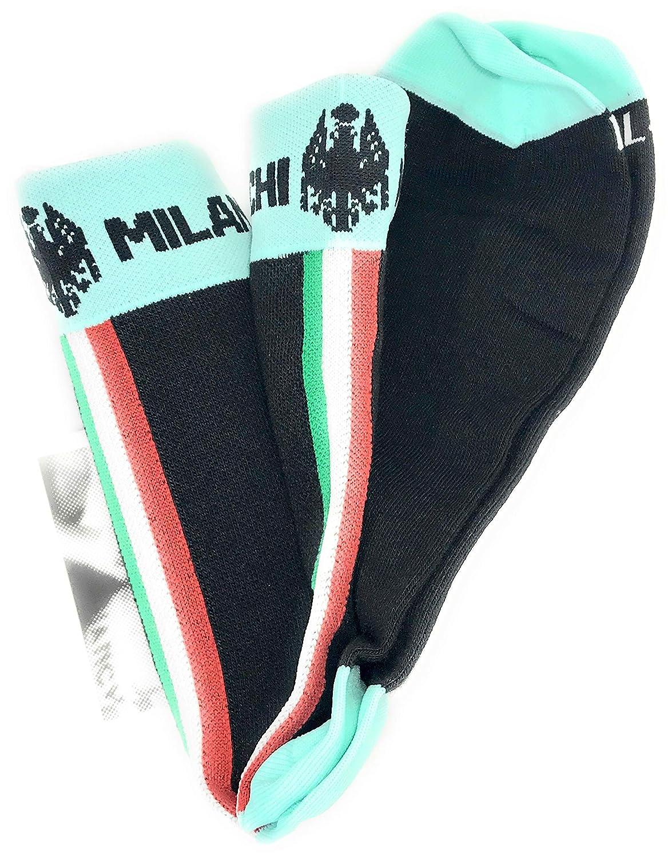 Modelo Diaterna Talla L//XL 40-44 Color 4700 Celeste//Negro con Banda Tricolor Fabricados en Italia Calcetines t/érmicos de Invierno Bianchi Milano
