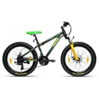 Frog Spartan 3.0 24 Inches 21 Speed Dual Disc Brake & Lock in & Out Front Suspension Bike for Teenagers Black & Green