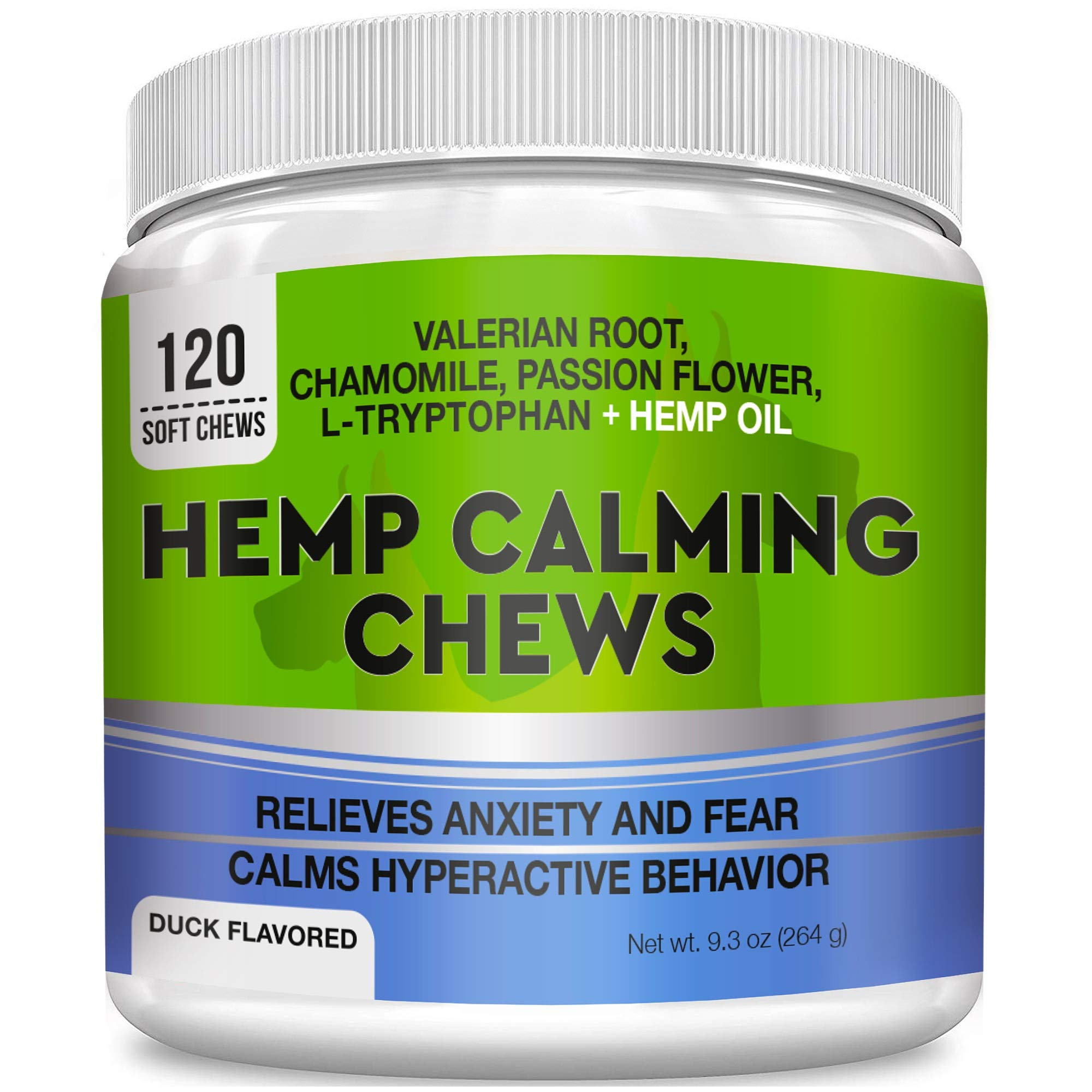 GOODGROWLIES Calming Hemp Treats for Dogs - Made in USA with Hemp Oil - Anxiety Relief - Separation Aid - Stress Relief During Fireworks, Storms, Thunder - Aggressive Behavior, Barking - 120 Chews by GOODGROWLIES