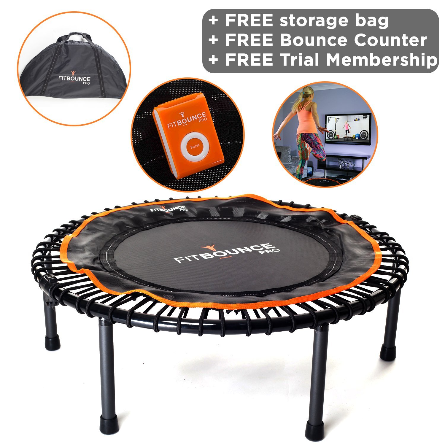 FIT BOUNCE PRO II - Top Seller - Half Foldable Very Quiet Beautifully Engineered Bungee Sprung Mini Trampoline Rebounder for Adults and Kids, DVD, Storage Bag & Bounce counter! Free Video Membership! by MXL MaXimus Life
