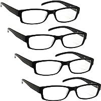 The Reading Glasses Company Black Lightweight Comfortable Readers Value 4 Pack Designer Style Mens Womens UVR4PK032 +2.00