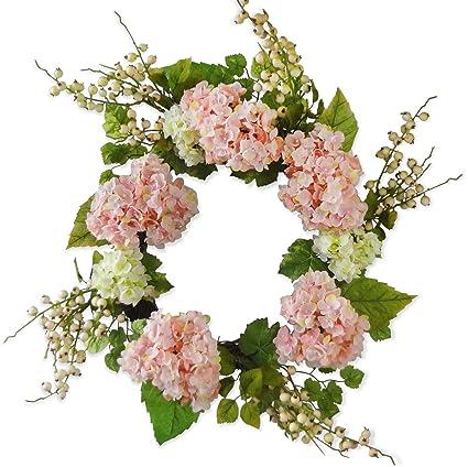 Amazoncom Hydrangea Wreath For Front Door Decor 24 Inches Pink