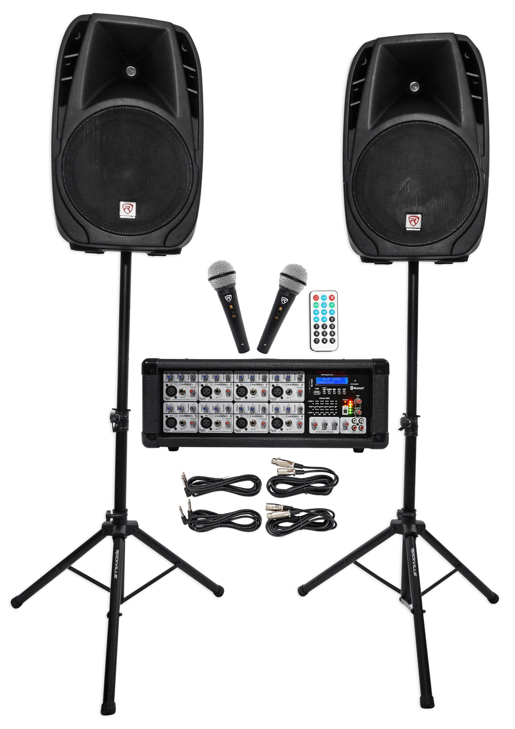 Rockville RPG2X15 Package PA System Mixer/Amp+15'' Speakers+Stands+Mics+Bluetooth by Rockville