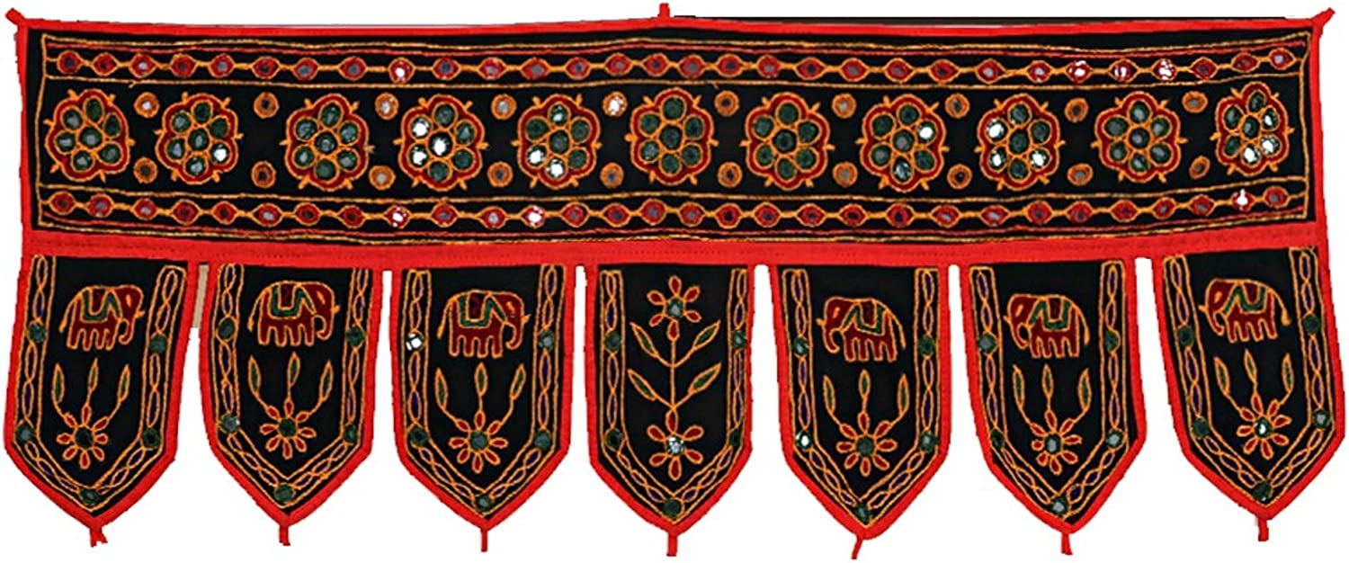 Devik Decor Indian Ethnic Embroidered Handmade Window Door Valences Hanging Toran for Home Decoration, 38 Inches (Black)