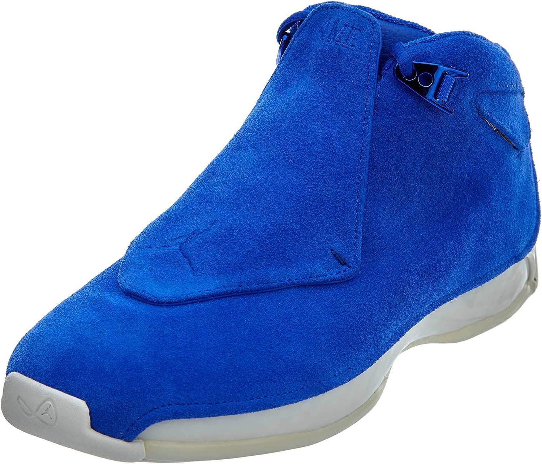 Jordan Nike Mens Air 18 Retro Basketball Shoes Racer Blue//Sail AA2494-401 Size 8