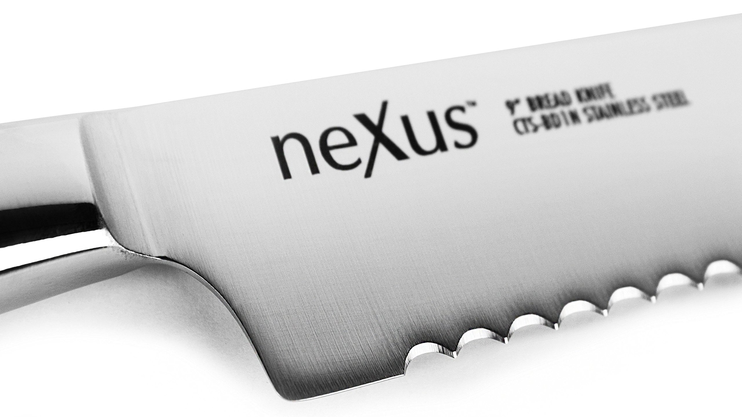 Nexus BD1N 9-inch Bread Knife, 63 Rockwell Hardness, American Stainless Steel with G10 Handle - Serrated Slicing Knife 4 American BD1N Stainless Steel enhanced with Nitrogen allows for high hardness yet a durable edge that will resist chipping and is extremely corrosion resistant; 9-inch blade (14.5-inches overall); Weighs 7.5-ounces (213 grams) 63 Rockwell Hardness for superior edge retention; Pointed serrations make this the perfect knife for crusty loaves of bread; The deep serration edge is designed to last for decades of use Indestructible G10 handle with stainless steel rivets; Full tang construction