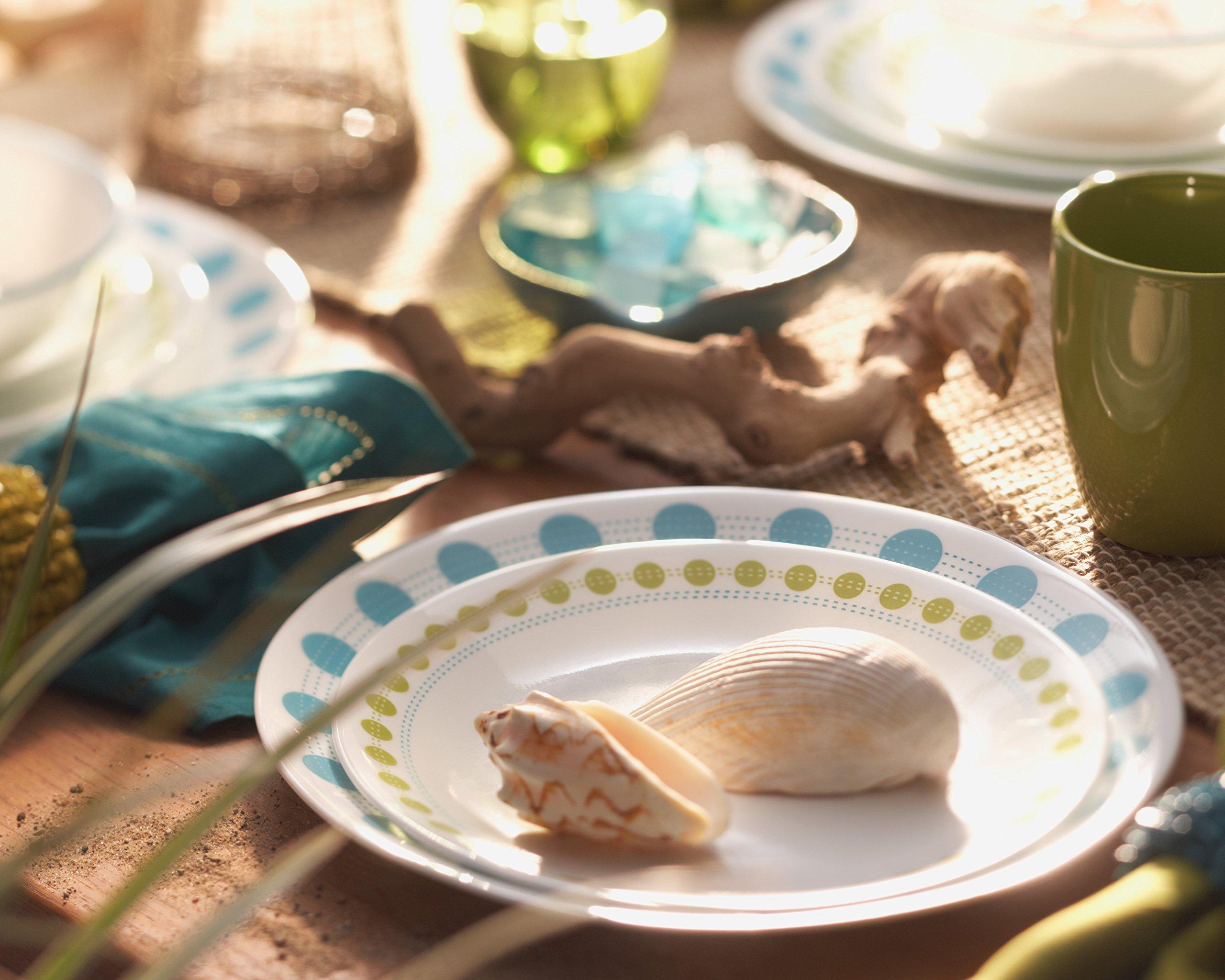 Corelle 16 Piece Charming Hardy Stoneware Livingware Dinnerware Set, Green/Blue Pattern
