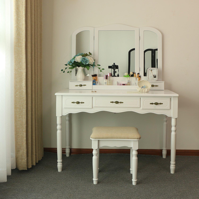 Bewishome Vanity Makeup Table Set 5 Drawers Desk Organizer