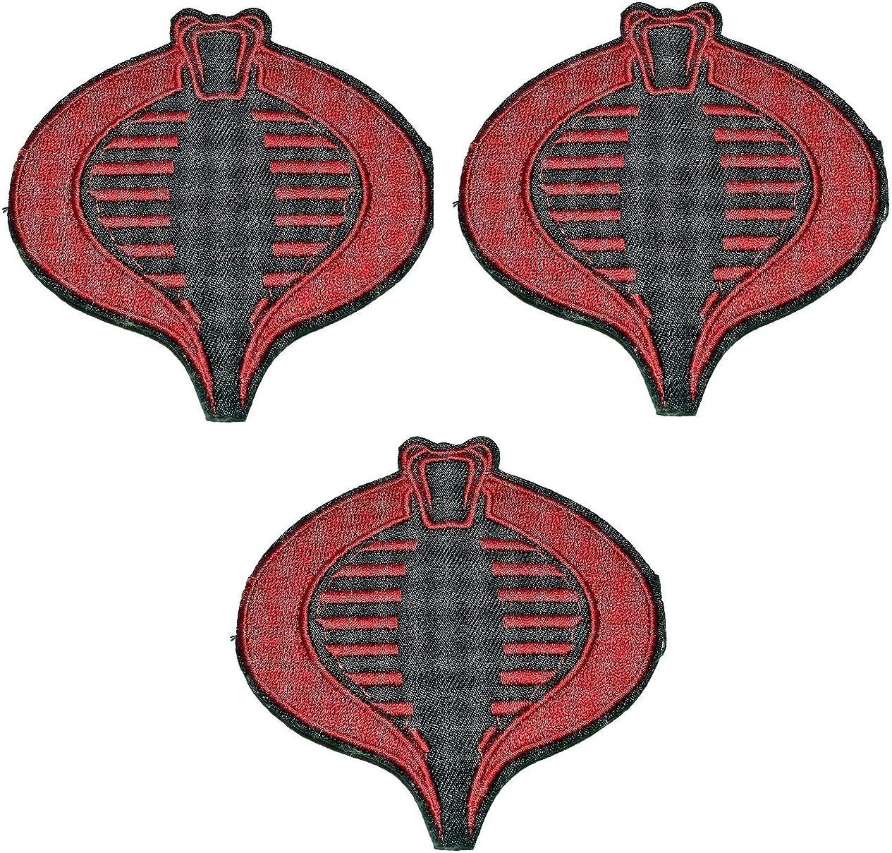 amazon com g i joe red black cobra logo 3 1 2 tall embroidered set of 3 patches clothing gi joe red black cobra logo 3 1 2 tall embroidered set of 3 patches