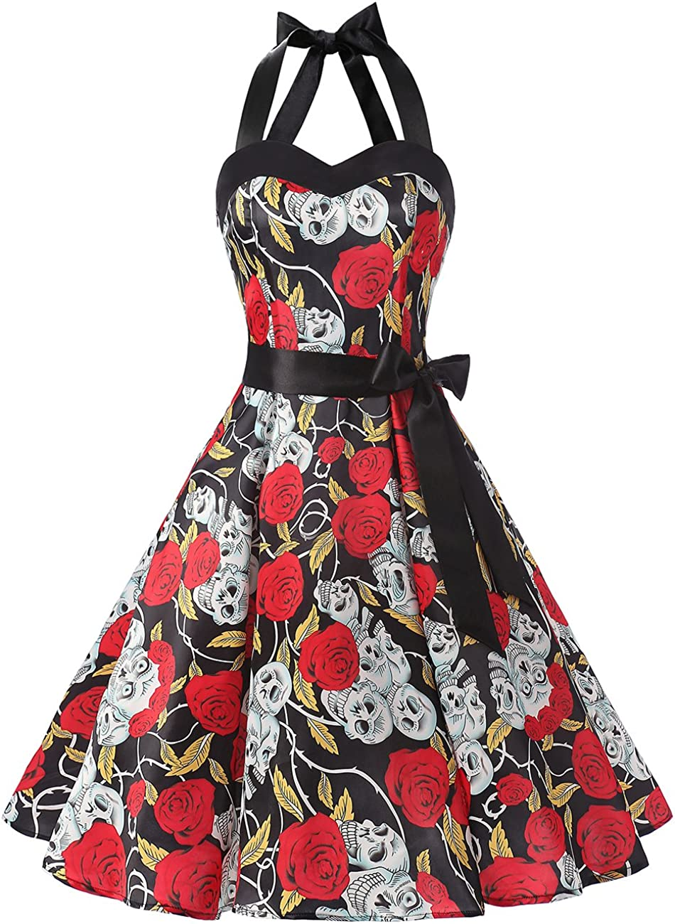 TALLA L. Dresstells® Halter 50s Rockabilly Polka Dots Audrey Dress Retro Cocktail Dress Pink Black Dot L