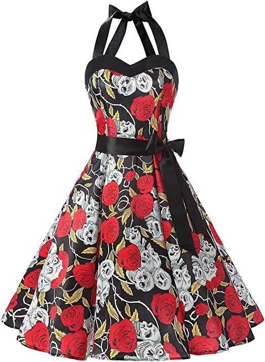 TALLA XS. Dresstells® Halter 50s Rockabilly Polka Dots Audrey Dress Retro Cocktail Dress Black Skull XS