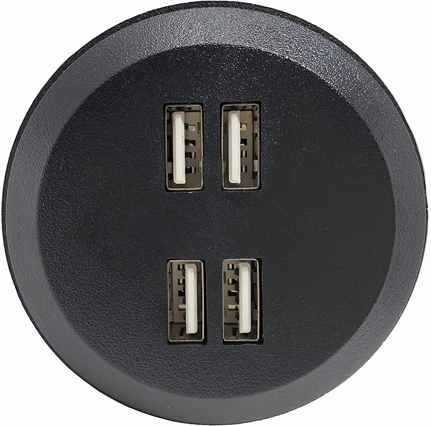 """Desktop Power Grommet Outlet Data Center, 2"""" or 2.5"""" Hole No Drilling Required, 2 Outlet W/ 2 USB Ports (FREE RETURN) (4 USB-DC8089-(2"""" - 2.5"""" HOLE-Black))"""