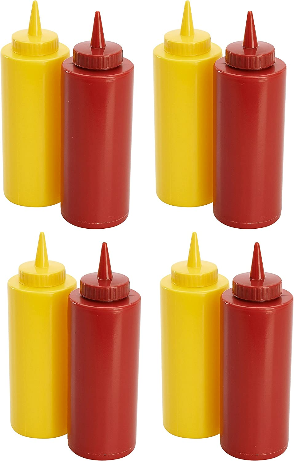 4 Sets of Plastic 11.5 oz Ketchup & Mustard 7 in Dispensers Bottles! Perfect for BBQ's, Picnics, Family Reunions, and Parties!