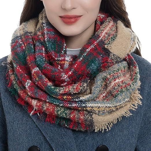 Women Tartan Plaid Infinity Wrap Scarf Winter Chunky Crochet Knit