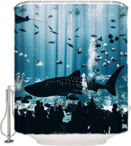 Vandarllin Polyester Fabric Shower Curtains, Ocean Animals Aquarium Shark Waterproof Curtains for Bathroom Decor, Home, Hotel Designs, 72x96in Extra Long Blue