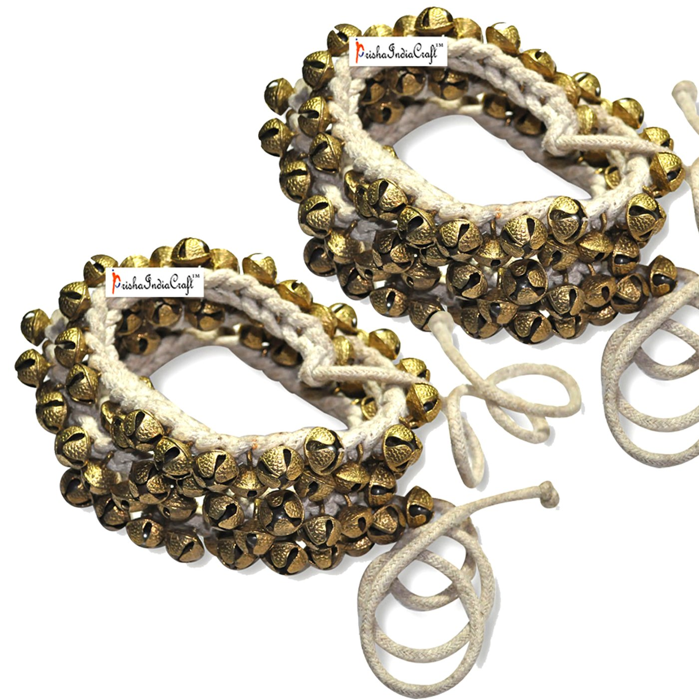 Prisha India Craft ® Kathak Ghungroo Pair, (100+100) (16 No. Ghungroo)Big Bells Best quality Tied with CottonCord Indian Classical Dancers Anklet Musical Instrument