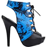 d5c656d78e5ba Show Story Blue And Black Bamboo Chinese Ink And Wash Lace Up Gladiator  Bootie Sandal