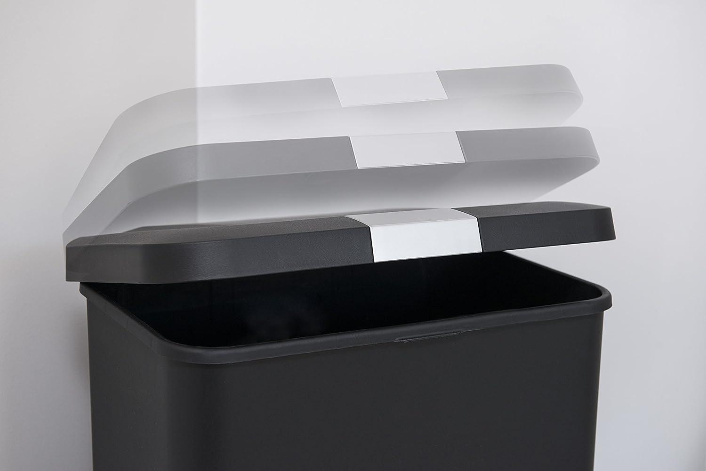 50/L, Negro, Acero inoxidable, 61 x 44 cm de fijaci/ón de pl/ástico cubo de basura con tapa y pedal Addis Premium