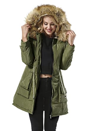 Amazon.com: Yidarton Women Parkas Jacket Faux Fur Lined Warm ...