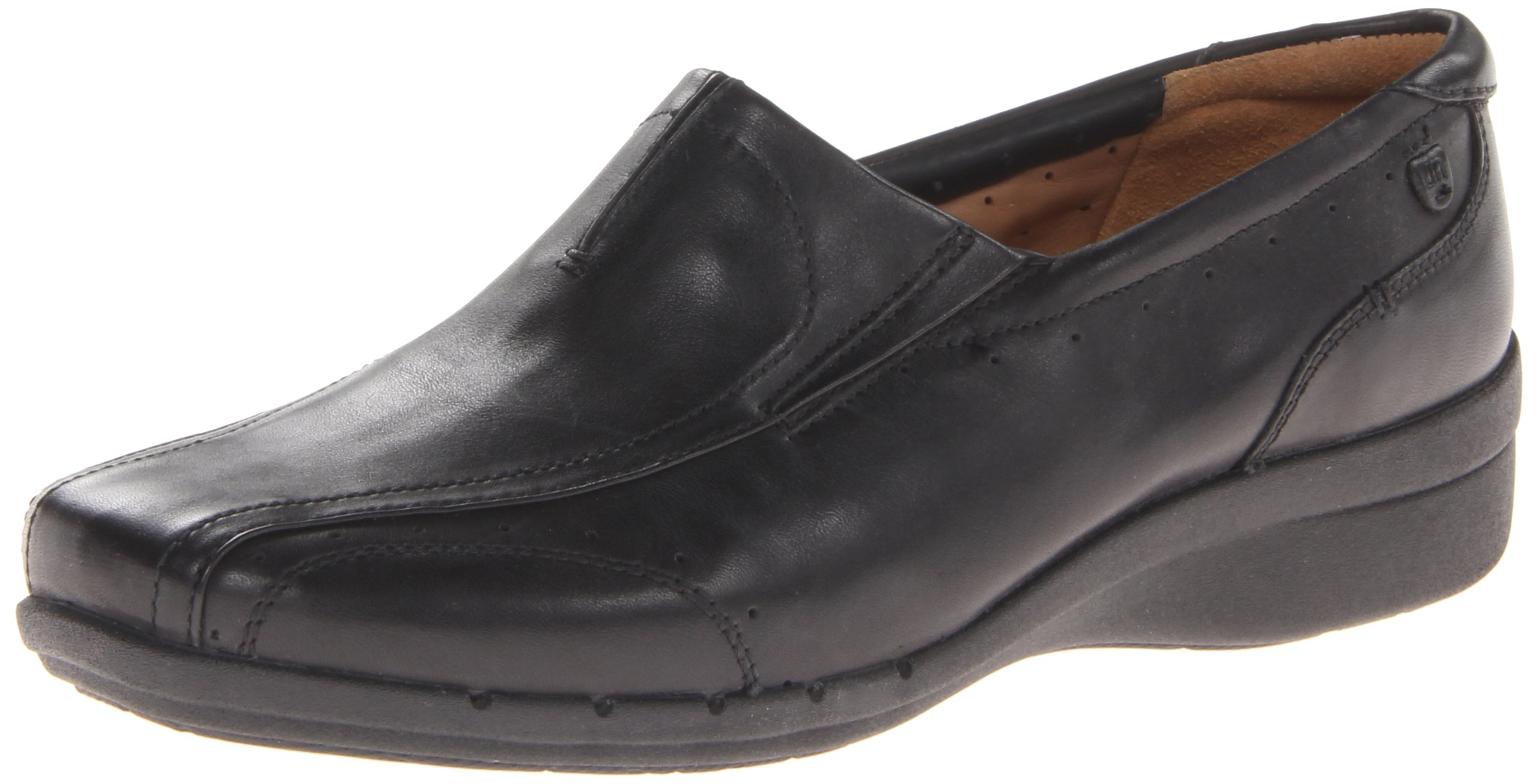 Clarks Women's Un.Clap Slip-On Shoes, Black Leather, 6.5