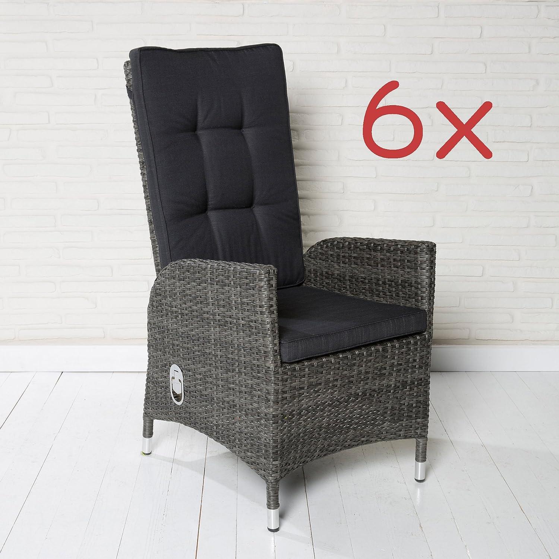 6 Polyrattan Gartensessel Luxus Rocking Chair Saint-Tropez grau Gartenstuhl Alu