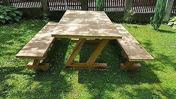 Casa Padrino Juego de Muebles de jardín - Mesa rústica + 2 Bancos de jardín (