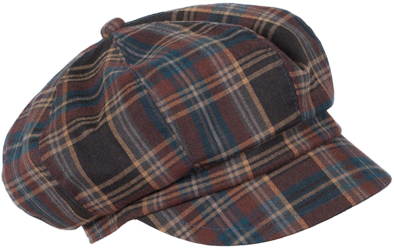LOEVENICH Kappe Damen Schirmmütze Balloncap Ballonmütze mit schickem Karo-Muster (Grau/Rot) Farbe: Grau