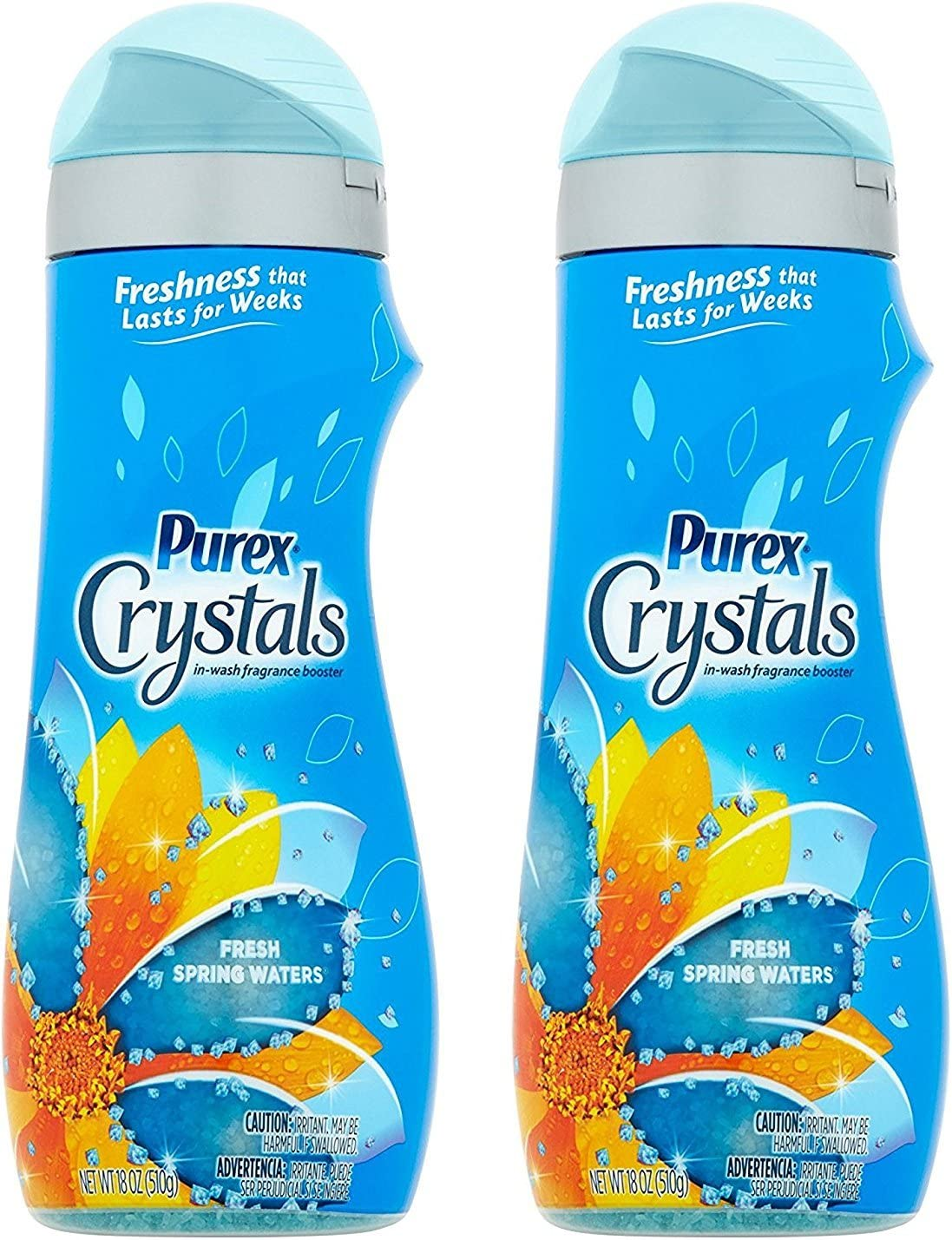 Purex Crystals Laundry Enhancer - Fresh Spring Waters - Long-Lasting Freshness - Net Wt. 18 OZ (510 G) Each - Pack of 2