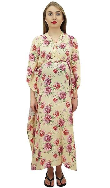 Bimba Moms Cream Impreso Kimono Manga Kaftan con Cinturon Maternidad Vestido -58