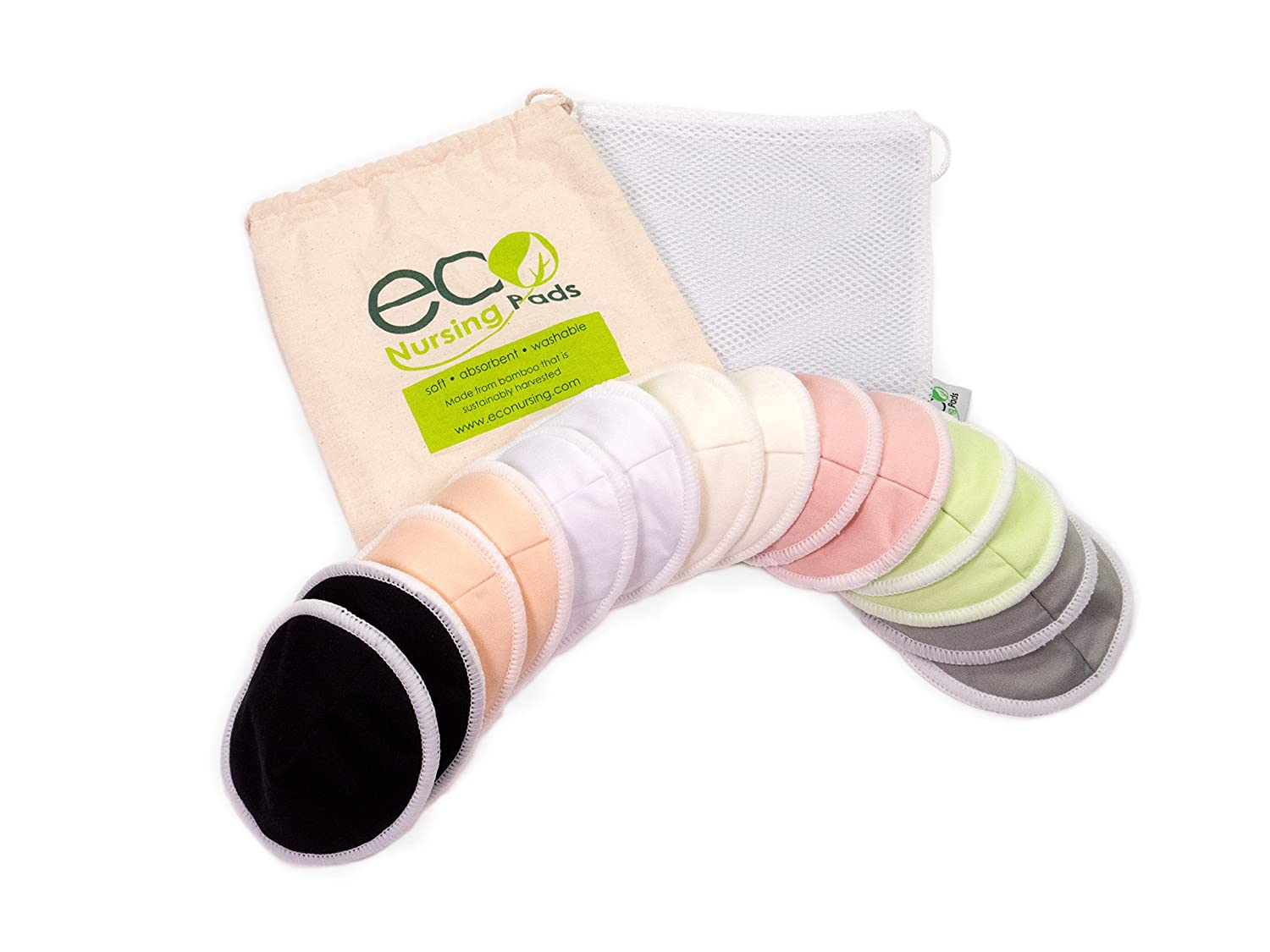 Contoured Washable Reusable Bamboo Nursing Pads | Organic Bamboo Breastfeeding Pads | Large (12cm) | 14 Pack with 2 BONUS Pouches & FREE E-Book by EcoNursingPads | Perfect Baby Shower Gift