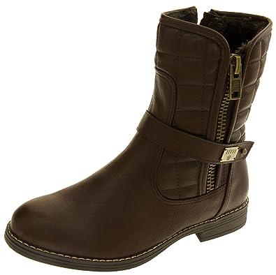 Keddo Winter Mid Calf Biker Womens Buckle Fur Lined Soft Heeled Boots UK 3-8