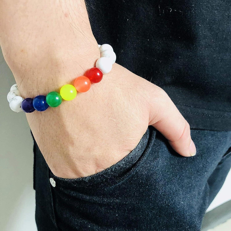 Gnzoe Men Women Lava Rock Chakra Beads Surgical Steel Agate Beads Turquoise Beads Bracelet Adjustable