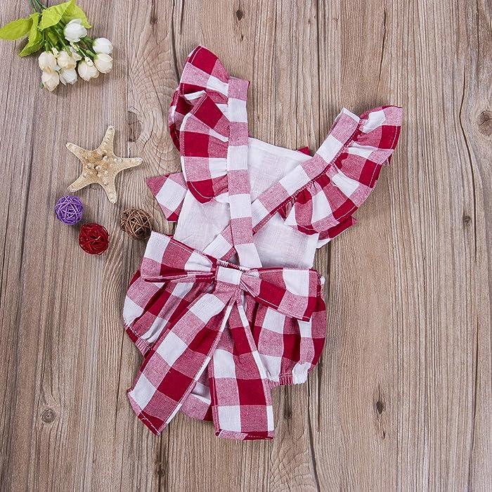 1179d7188dec Hotone Newborn Infant Baby Girls Clothes Plaids Checks Romper Jumpsuit  Bodysuit Outfits