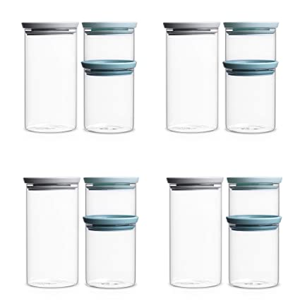 Amazoncom Brabantia Stackable Glass Food Storage Containers Set