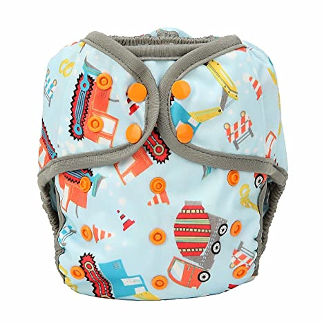 One Size Cloth Diaper Cover Snap with Double Gusset Feather Animal