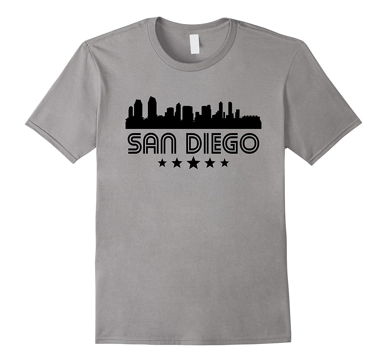 San Diego California Skyline Retro Style T-Shirt-Vaci