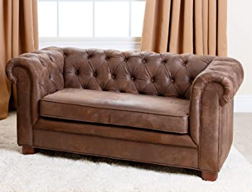Abbyson Kids Teddy Mini Chesterfield Sofa, Antique Brown