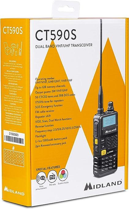 Ricetrasmettitore Portatile Dual Band Vhf//uhf Midland CT590 NUOVO MODELLO BIBAND