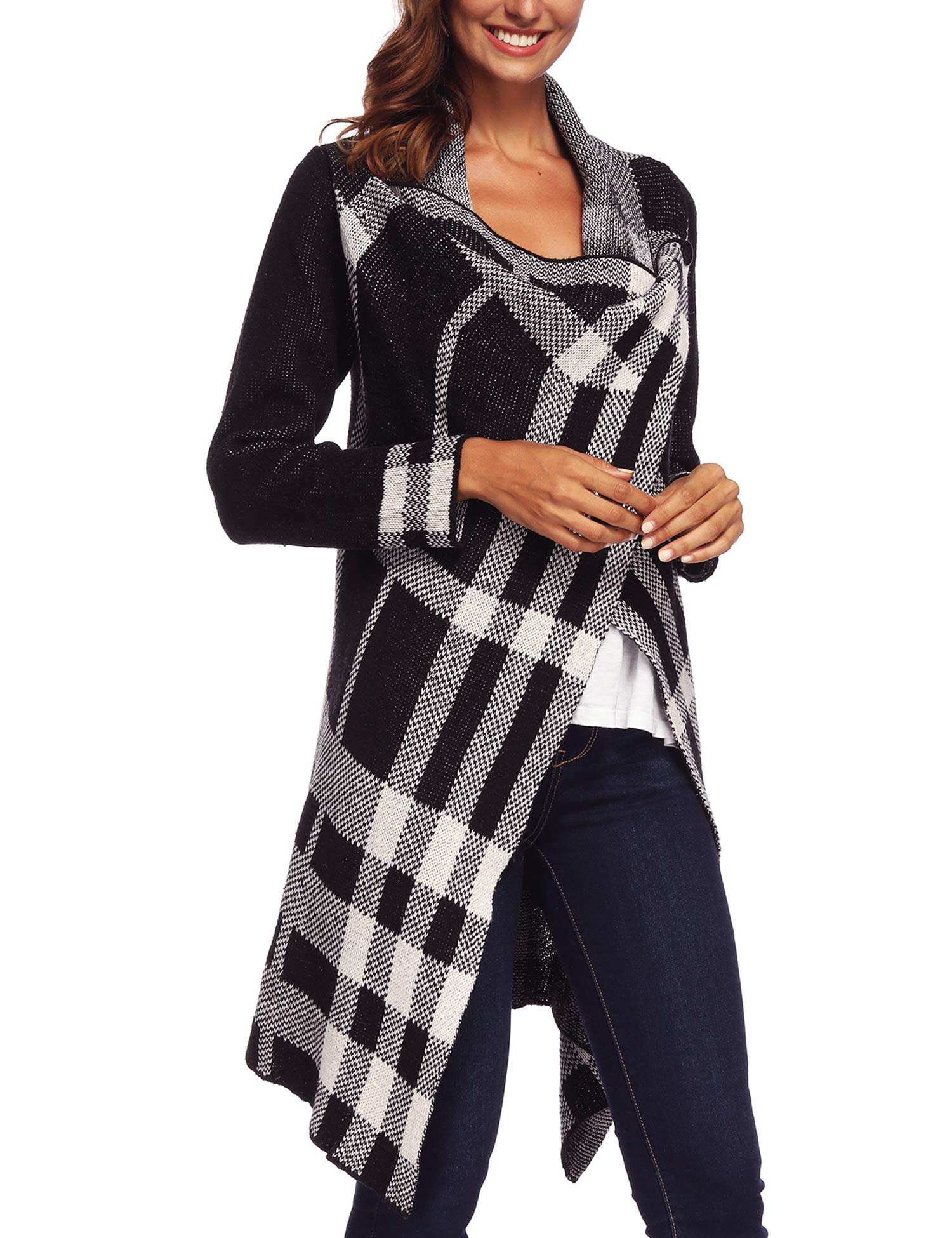 Vintage Plaid Knitted Poncho Shawl Cape Button Cardigan for Women Loose Sweater