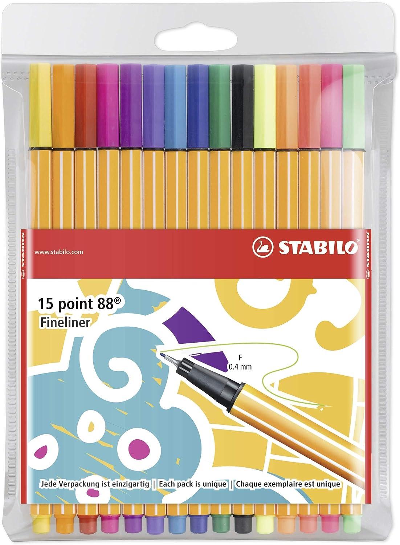 Stabilo 8815-3 - Rotulador punta fina point 88 - Estuche con 15 colores, Individual Just Like You, no hay dos iguales: Amazon.es: Oficina y papelería