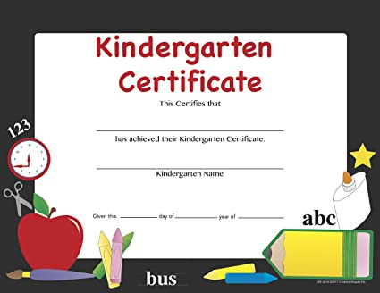 amazon com recognition certificate kindergarten certificate